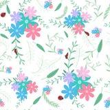 Ladybug с предпосылкой флористических и лист безшовной картины бесплатная иллюстрация