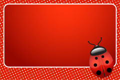 Ladybug. Vector red dots background with ladybug. Framed space for copy/text stock illustration