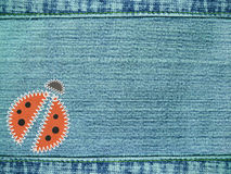 τζιν ανασκόπησης ladybug Στοκ φωτογραφία με δικαίωμα ελεύθερης χρήσης