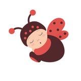 Ladybug baby, costume of a ladybug with wings, sleeping baby dressed as a ladybug. Sleeping baby in a ladybug costume with wings. Flat design.Flat style Stock Images