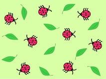 Ladybug background. Ladybugs and leaves on the green background Royalty Free Stock Image