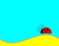 Ladybug Background. Ladybug walking on a hill with blue background vector illustration