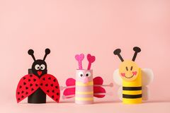 Ladybug, bee, butterfly, insect set from toilet tube roll for kids, baby shower, valentine day holiday decor. A terrible craft.