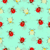 Ladybug, beetles in peas and striped  seamless pattern, insects vector background. For fabric design, wallpaper Stock Photo