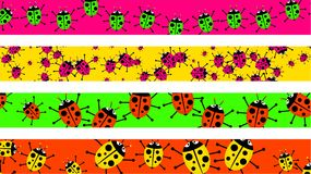 Ladybug borders. Set of four decorative and colourful ladybug beetle page borders Stock Images