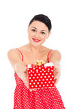 Ladybug and boxed present Stock Images