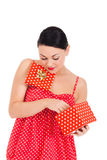 Ladybug and boxed present Royalty Free Stock Images
