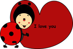 Ladybug cartoon with heart I love you Royalty Free Stock Photos