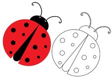 Ladybug. Coloring page, game for kids. Vector illustration. Stock Image