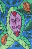 Ladybug come illustrazione di carta bianca Fotografie Stock Libere da Diritti