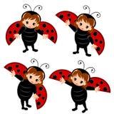 Ladybug costume cartoon. Lady bug costume cartoon set kids isolated vector Stock Photography