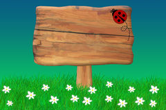 Ladybug Crawing On a Wooden Sign. Wooden sign with a ladybug crawing on it Stock Illustration