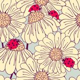 Ladybug and daisy seamless pattern Stock Photo