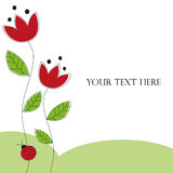 Ladybug design card. Red flowers and ladybug background with space for your text. Vector, eps available Stock Photos