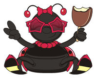 Ladybug eating an ice cream Royalty Free Stock Photography