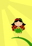 Ladybug fairy. Vector illustration with a little girl / fairy with ladybug wings / costume, sitting on a leaf under the sun Stock Images