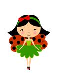 Ladybug fairy. Vector illustration with a little girl / fairy with ladybug wings / costume isolated on white background Stock Photography