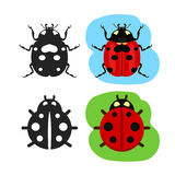 Ladybug flat color vector icon. Black silhouette bug ladybug simple line icon, ladybug vector sign collection of shape black contour and flat colorful ladybug Stock Images