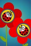 Ladybug flower. Illustration of cute ladybugs on red flowers Stock Photos