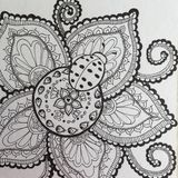 Ladybug and Flower Zen doodle pen and ink drawing Stock Photography