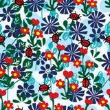 Ladybug fly flower seamless pattern Stock Images
