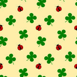 Ladybug and four leaf clover seamless pattern good luck illustration Stock Image
