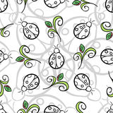 Ladybug Gray Pattern. Gray and black ladybugs and green leafs on the white background Royalty Free Stock Photo