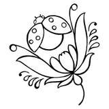 Ladybug. Hand drawn, , black illustration in Ukrainian folk style vector illustration