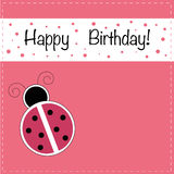 Ladybug Happy Birthday Invitation. Ladybug ladybird happy birthday invitation Royalty Free Stock Images