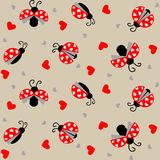 Ladybug with hearts seamless pattern - vector. Valentine seamless pattern with Ladybug and hearts. Useful also as design element for gift wrapping. Eps file vector illustration