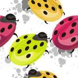 Ladybug Insect seamless pattern design Royalty Free Stock Photos