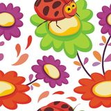 Ladybug insects with flower Seamless pattern design Royalty Free Stock Image