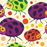 Ladybug insects Seamless pattern design Royalty Free Stock Photo