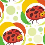 Ladybug insects Seamless pattern design Stock Images