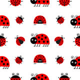 Ladybug Ladybird icon set. Baby collection. Funny insect. Seamless Pattern Wrapping paper, textile template. White background. Fla Stock Photography