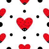 Ladybug Ladybird icon set. Heart shape. Baby collection. Funny kawaii baby insect. Black dots. Seamless Pattern Wrapping paper, te. Xtile template. White Royalty Free Stock Photography