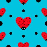 Ladybug Ladybird icon set. Heart shape. Baby collection. Funny kawaii baby insect. Black dots. Seamless Pattern Wrapping paper, te. Xtile template. Blue Stock Image