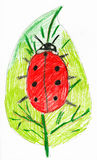 Ladybug on leaf. child drawing. Royalty Free Stock Photography