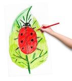 Ladybug on leaf. child drawing. Royalty Free Stock Images