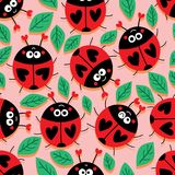 Ladybug love cute seamless pattern. This illustration is design and drawing ladybug love cute with leaves decoration in pink and orange warm style colors stock illustration