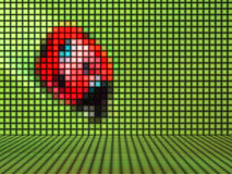 Ladybug made out of Light Cubes. Ladybug on green Background made out of Light Cubes Stock Photos
