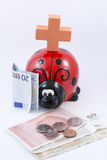 Ladybug money box and money Royalty Free Stock Photo
