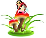 Ladybug painting mushrooms Stock Image
