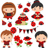 Ladybug party. A vector of party with ladybug theme stock illustration
