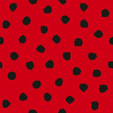 Ladybug pattern with angular spots. Seamless vector. Background with black polygonal shapes on red backdrop Royalty Free Stock Photo