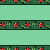 Ladybug Pattern. Red ladybugs and green leafs in strips on the turquoise background Stock Photos