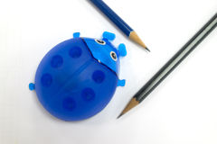 Ladybug pencil sharpener and pencil shavings Stock Images