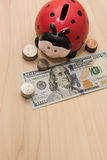 Ladybug piggy bank. Surrounded by coins & a hundred dollar bill Royalty Free Stock Photography