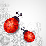 Ladybug. Polygonal ladybug on a gray floral background stock illustration