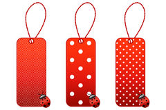 Ladybug price tags. Three price tags with strings and ladybugs royalty free illustration
